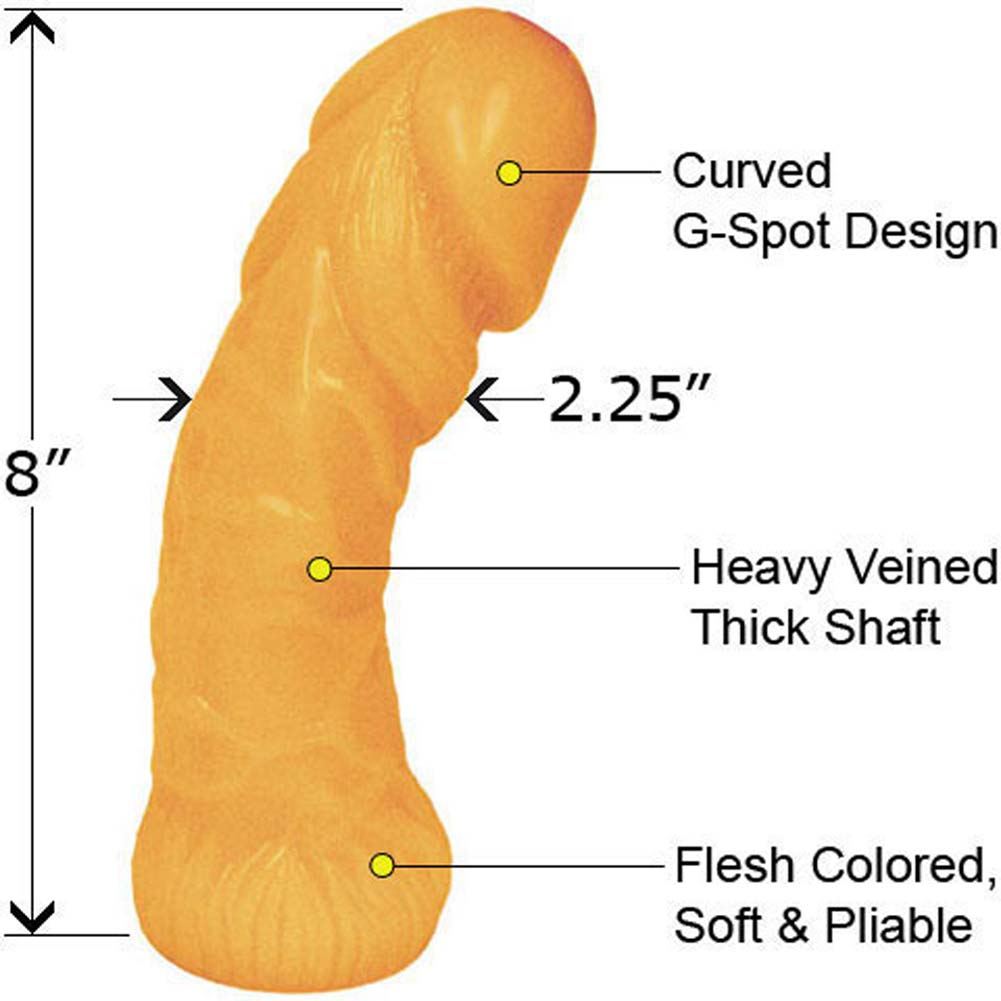 "Oversized Curved Textured Jelly Dildo 8"" Peach Flesh - View #1"