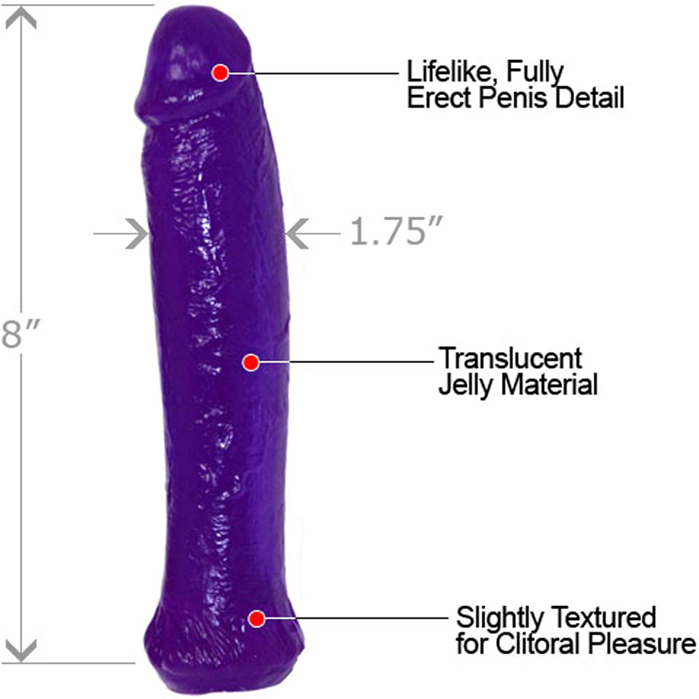 "Jelly Dong Straight Lifelike Dildo 8"" Kinky Purple - View #1"