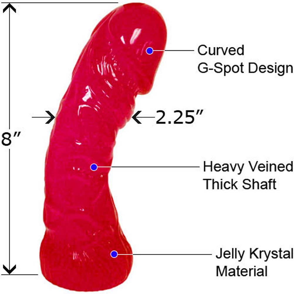 "Oversized Curved Textured Jelly Dildo 8"" Racy Red - View #1"