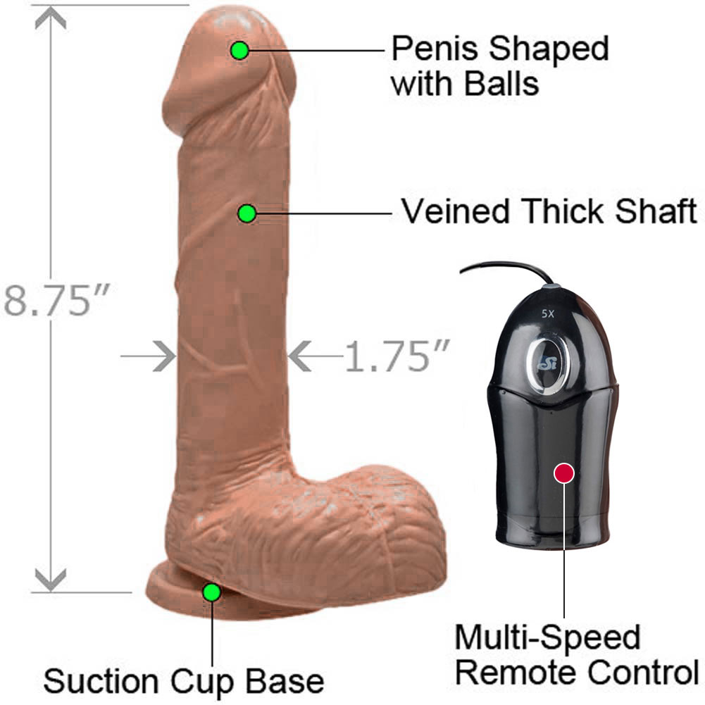 """Realistic 7"""" Cock with Suction and Vibration Caramel - View #1"""