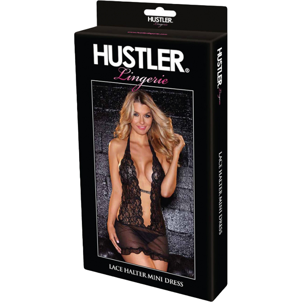 Hustler Lingerie Lace Halter Mini Dress One Size Fits Most Black - View #4