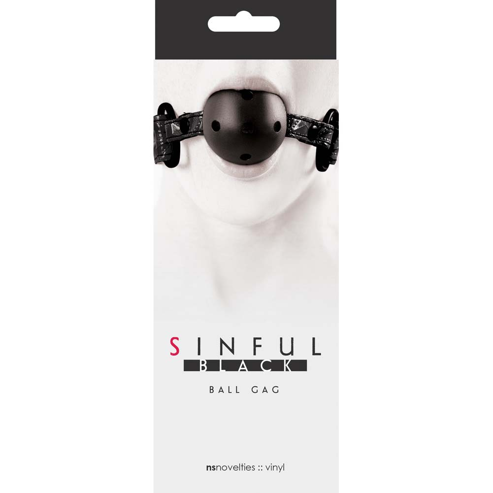 Sinful Adjustable Ball Gag by NS Novelties Naughty Black - View #1