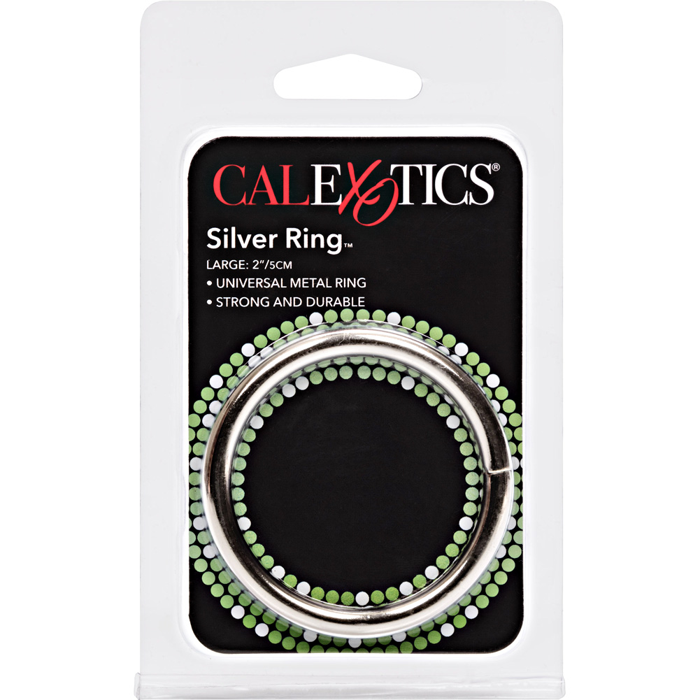 "CalExotics Solid Metal Cock Ring 2"" Silver - View #1"