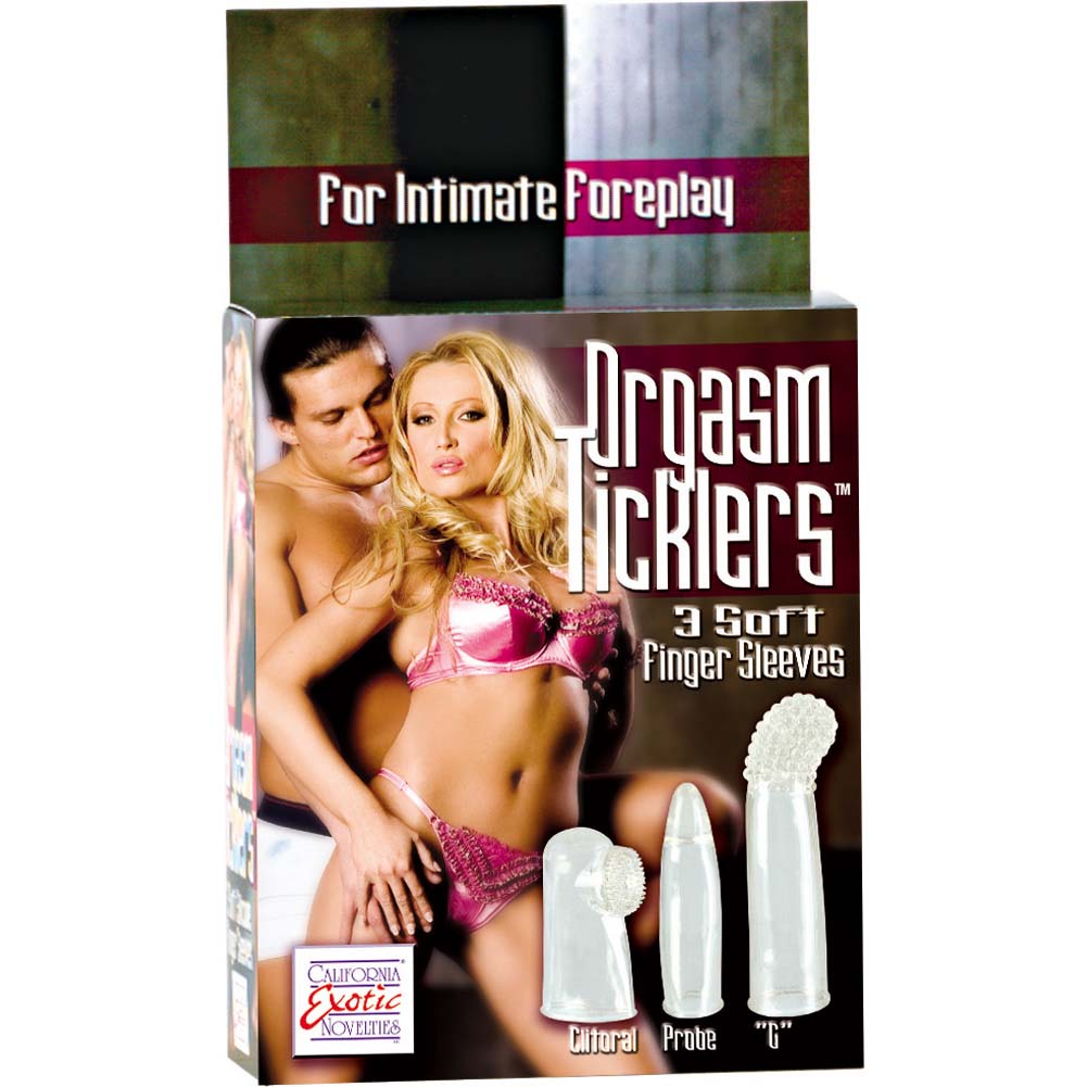Orgasm Ticklers 3 Soft Silicone Finger Sleeves Clear - View #1