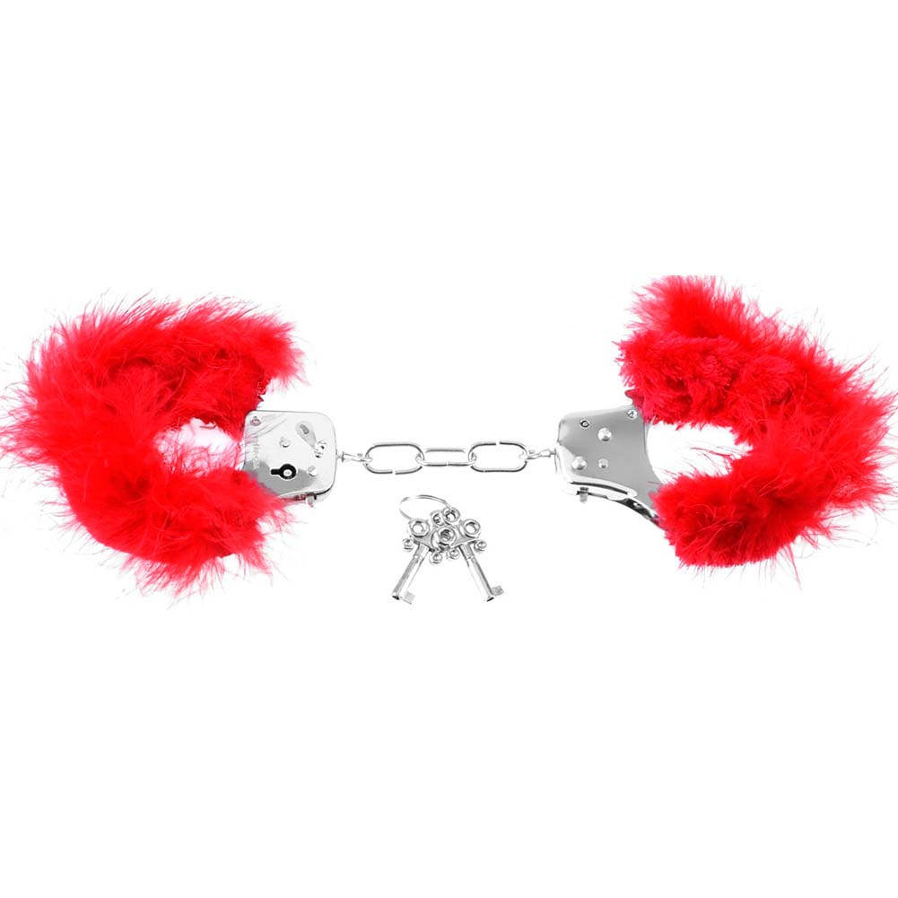 Pipedream Fetish Fantasy Series Feather Love Cuffs Red - View #4