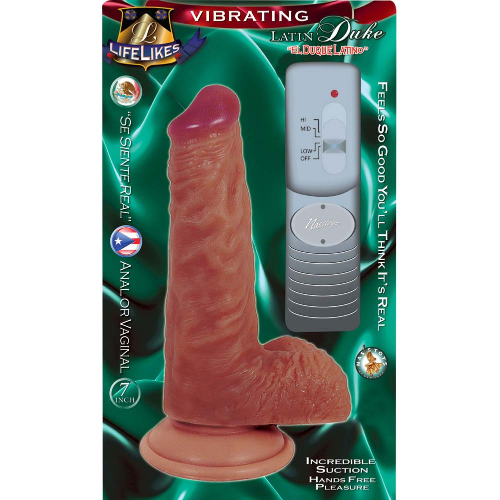 "Nasstoys Lifelikes Vibrating Latin Duke Cock with Suction Cup 7.75"" Beige - View #1"
