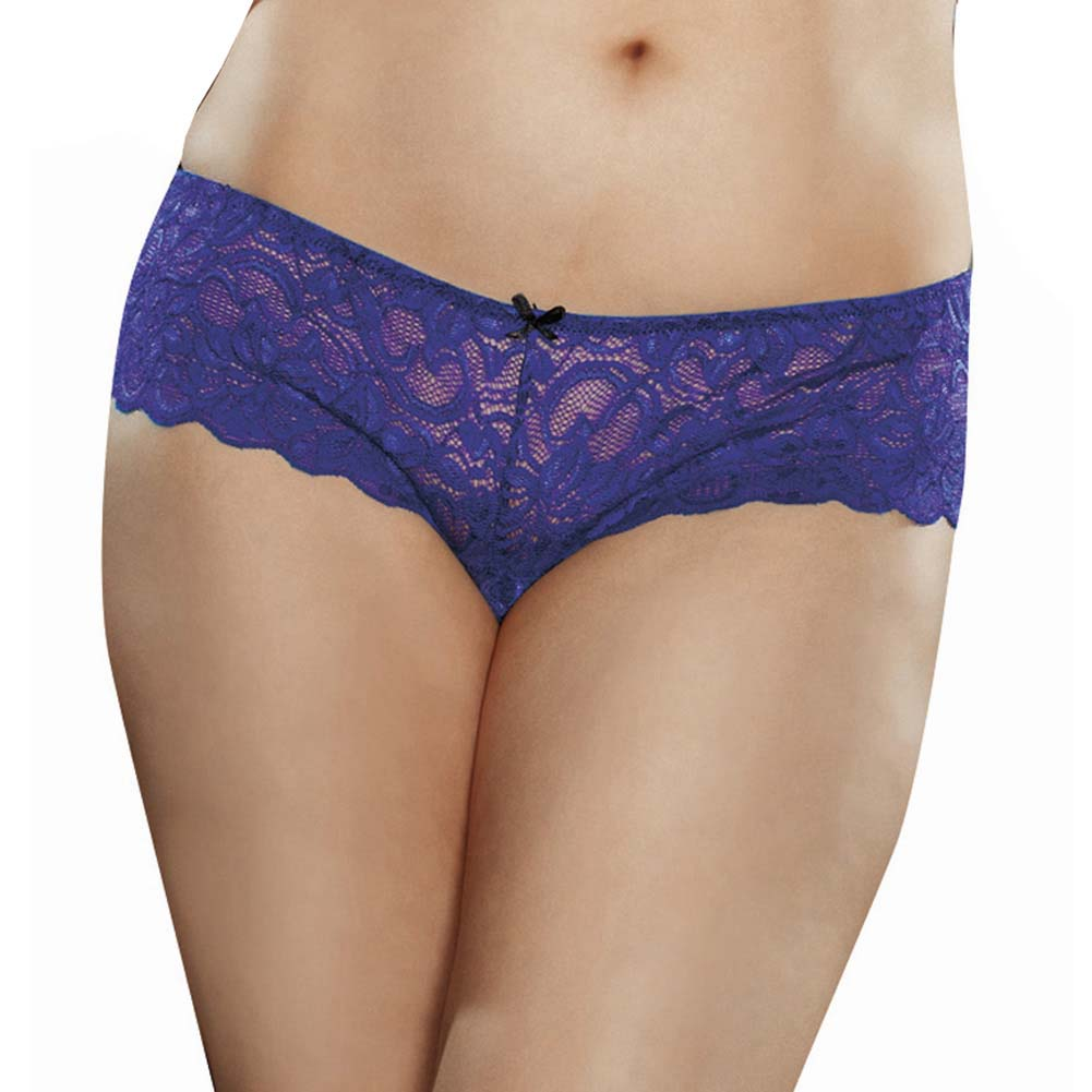 Dreamgirl Stretchy Lace Open Crotch Boy Short Panty 1X/2X Sapphire - View #1