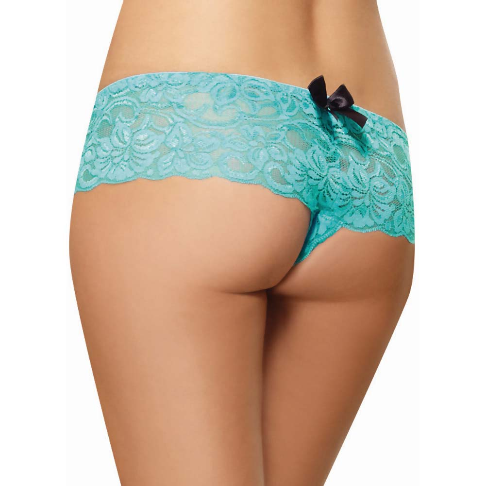 Dreamgirl Stretchy Lace Open Crotch Boy Short Panty Small Turquoise - View #2