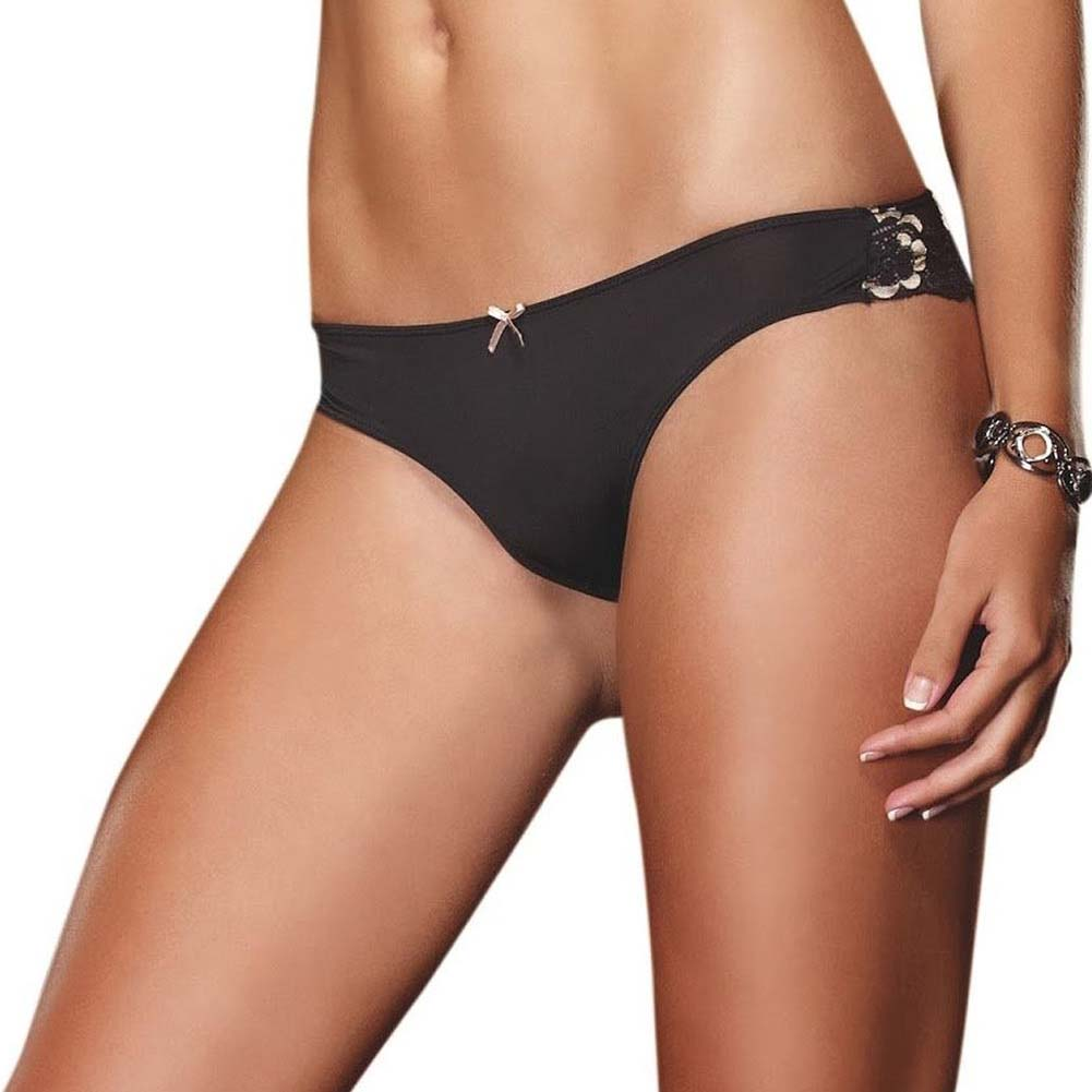 Dreamgirl Cheeky Panty with Cross Dye Lace Back Small Gold - View #2