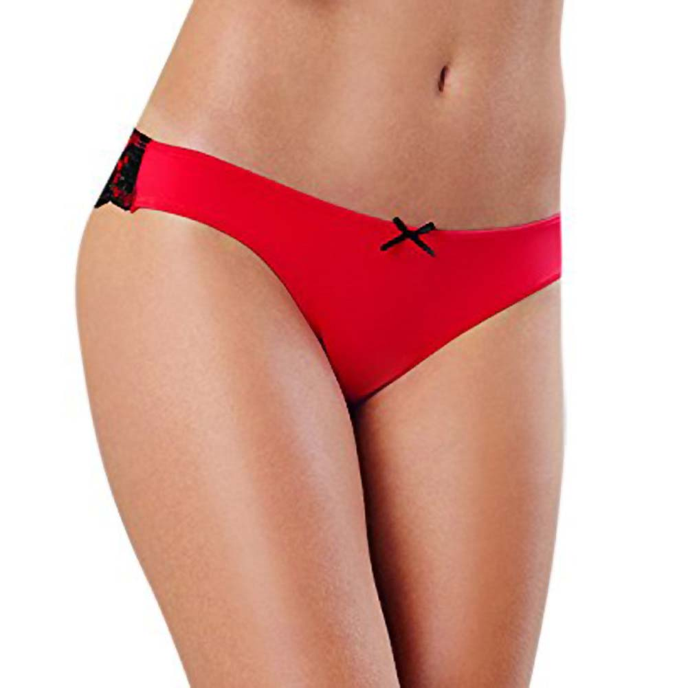 Dreamgirl Cheeky Panty with Cross Dye Lace Back XL Red - View #2