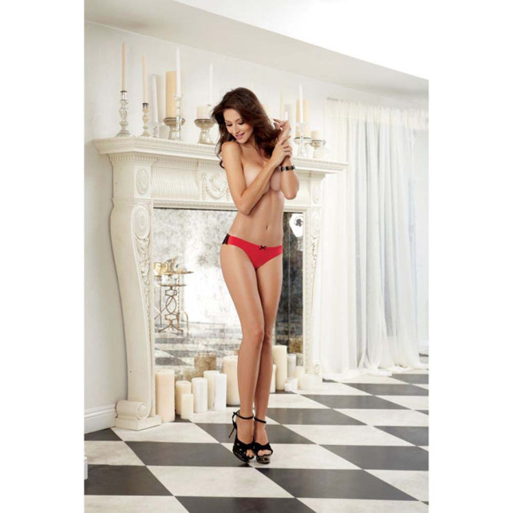 Dreamgirl Cheeky Panty with Cross Dye Lace Back XL Red - View #4