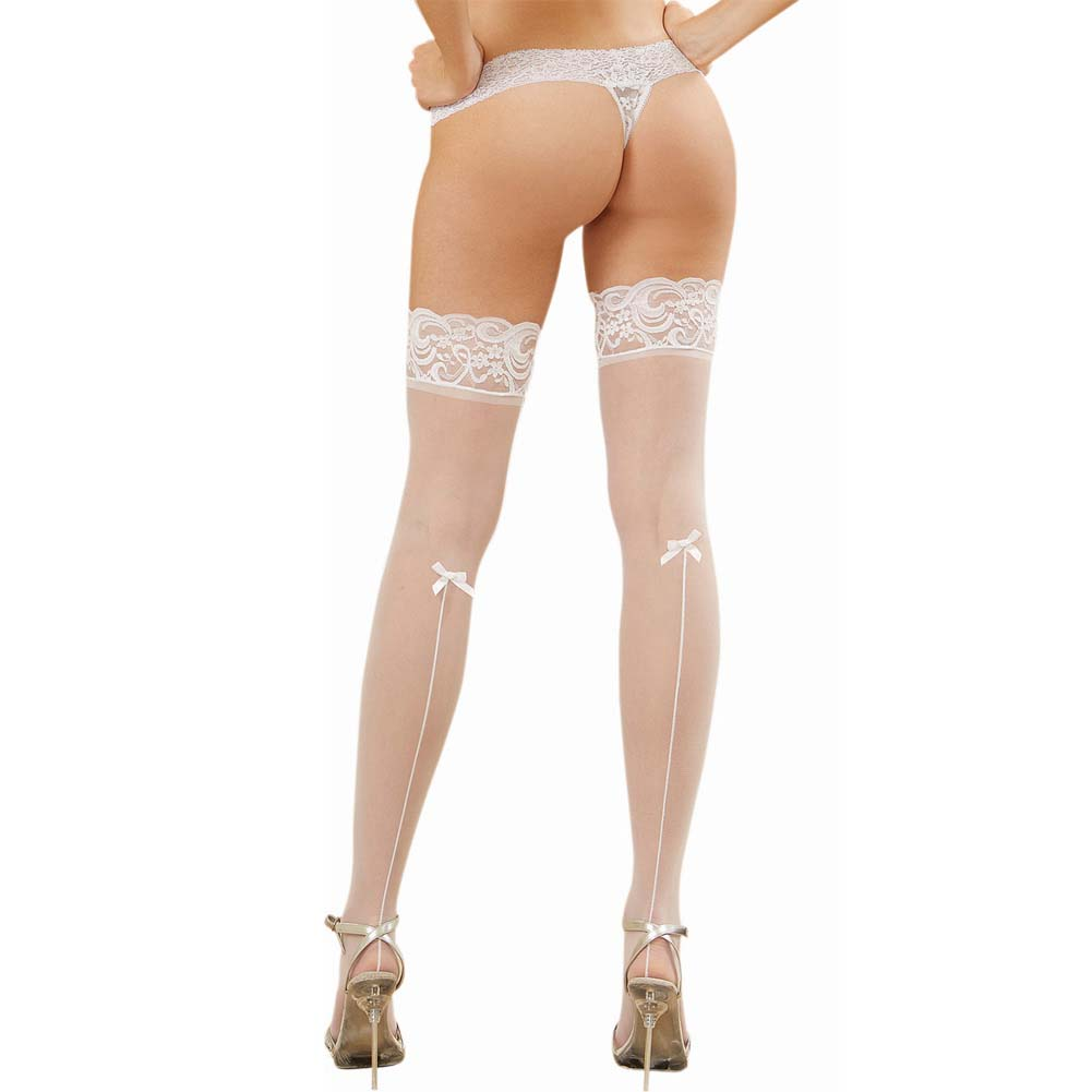 Dreamgirl Sheer Thigh High with Bow and Back Seam One Size White - View #1