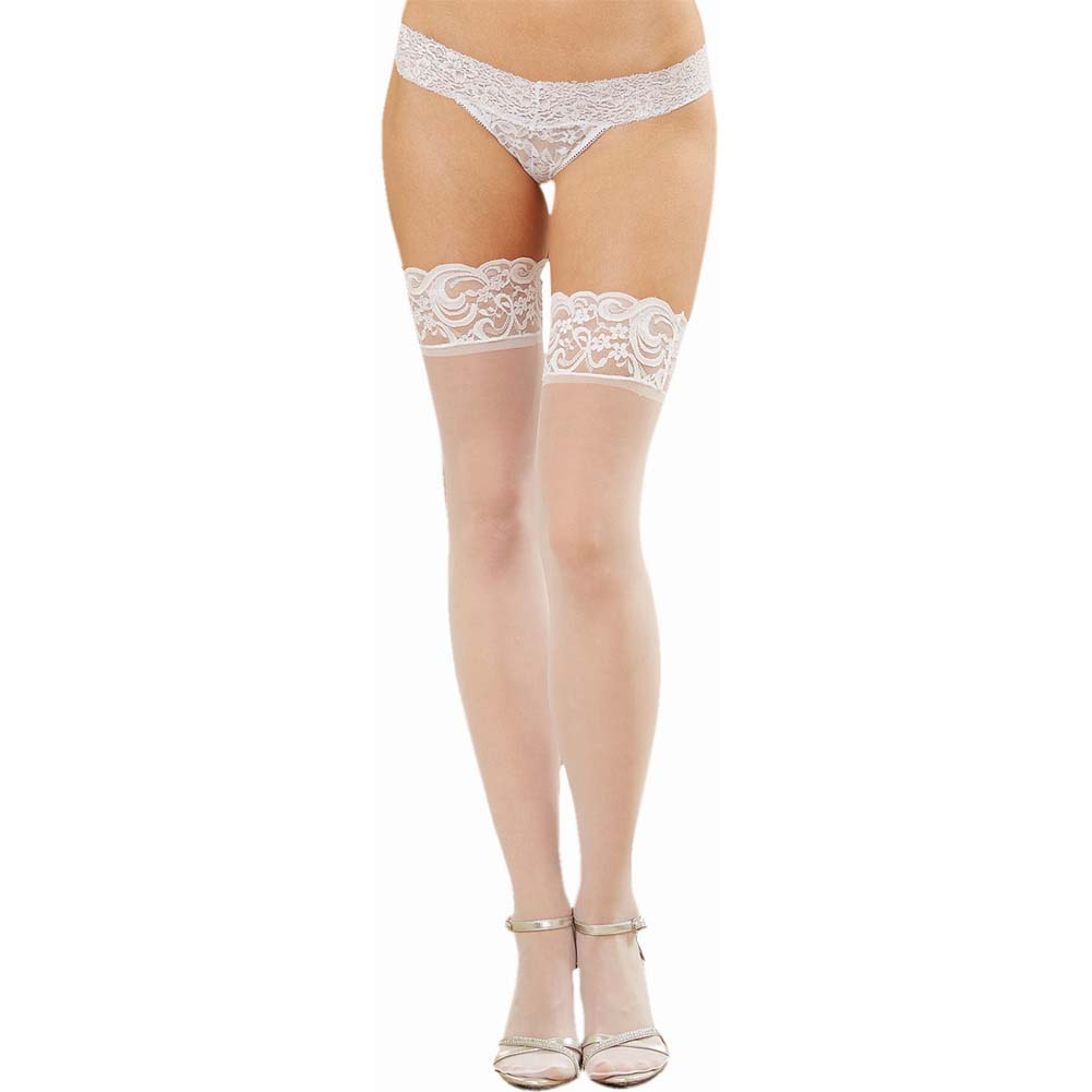 Dreamgirl Sheer Thigh High with Bow and Back Seam One Size White - View #2
