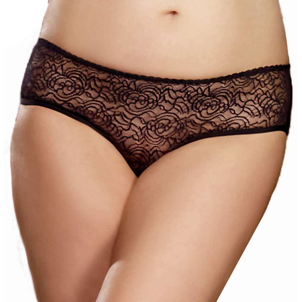 Dreamgirl Stretch Lace Crotchless Ruffled Panty 1X/2X Black - View #2
