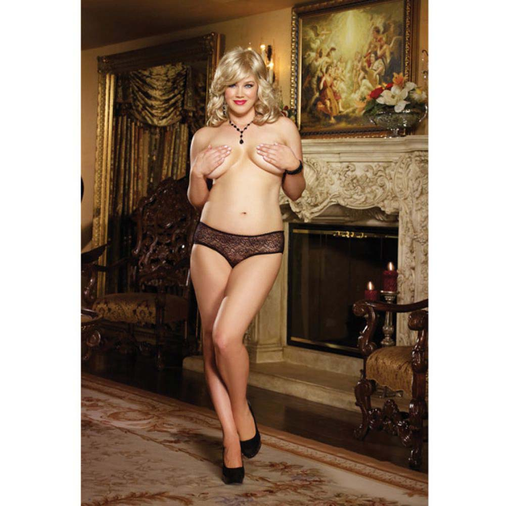 Dreamgirl Stretch Lace Crotchless Ruffled Panty 1X/2X Black - View #4