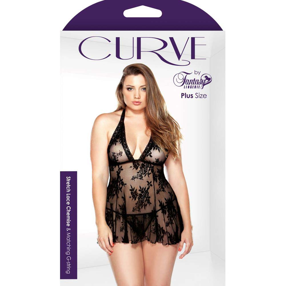 Fantasy Lingerie Curve Stretch Lace Chemise and G-String Set 3X/4X Black - View #3