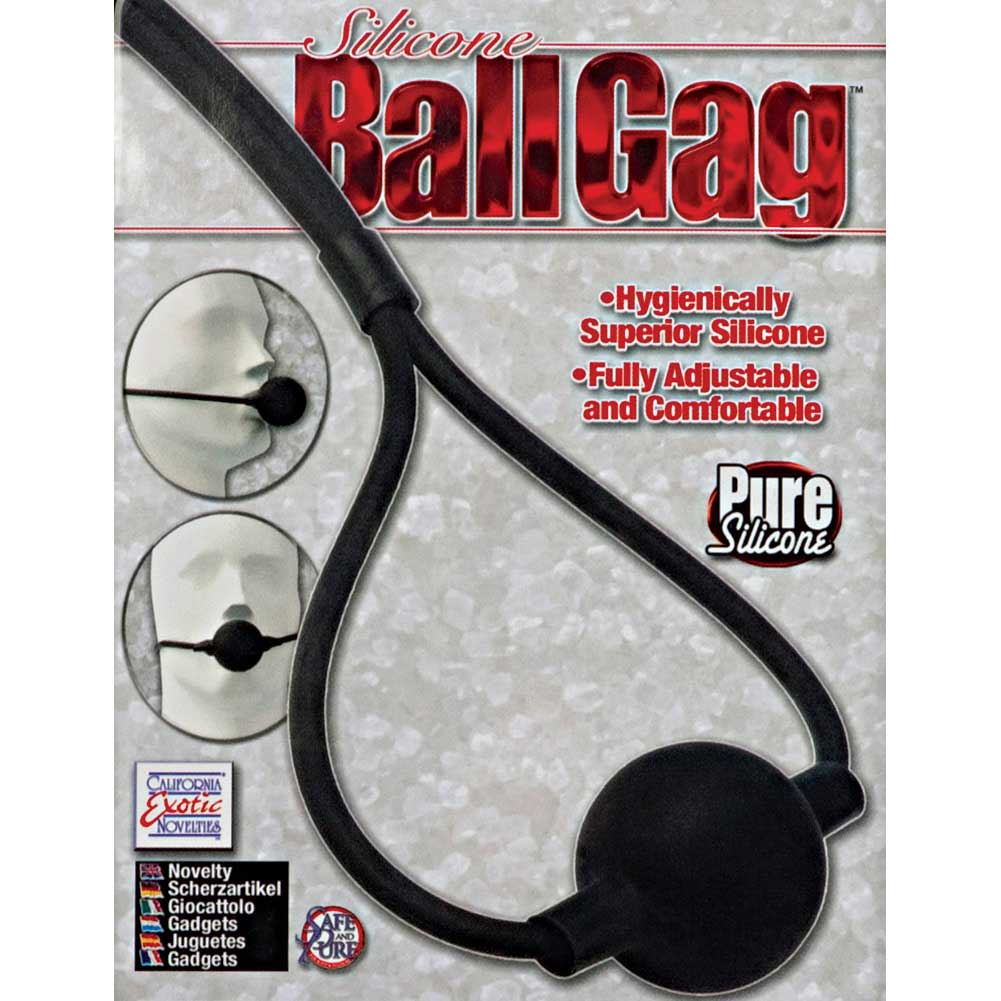 "Adjustable Silicone Ball Gag 1.75"" Black - View #3"