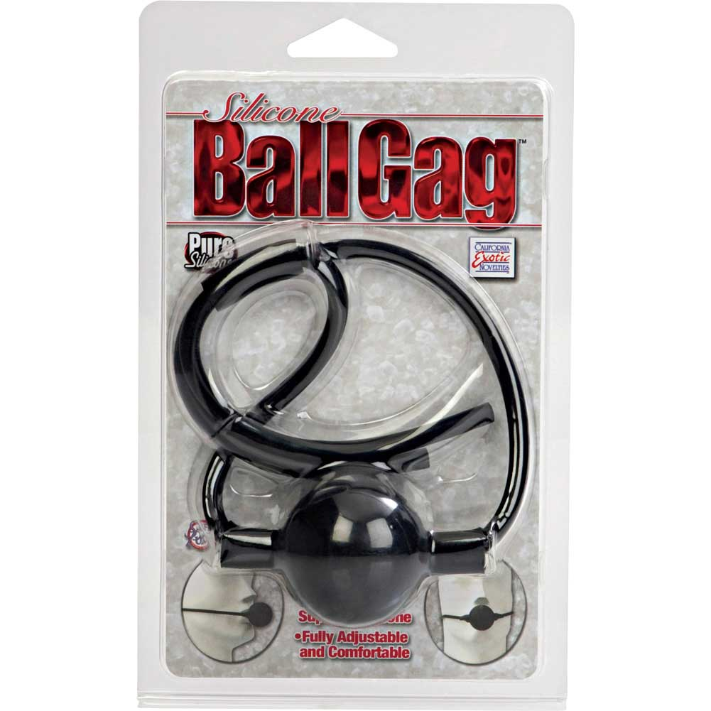 "Adjustable Silicone Ball Gag 1.75"" Black - View #4"