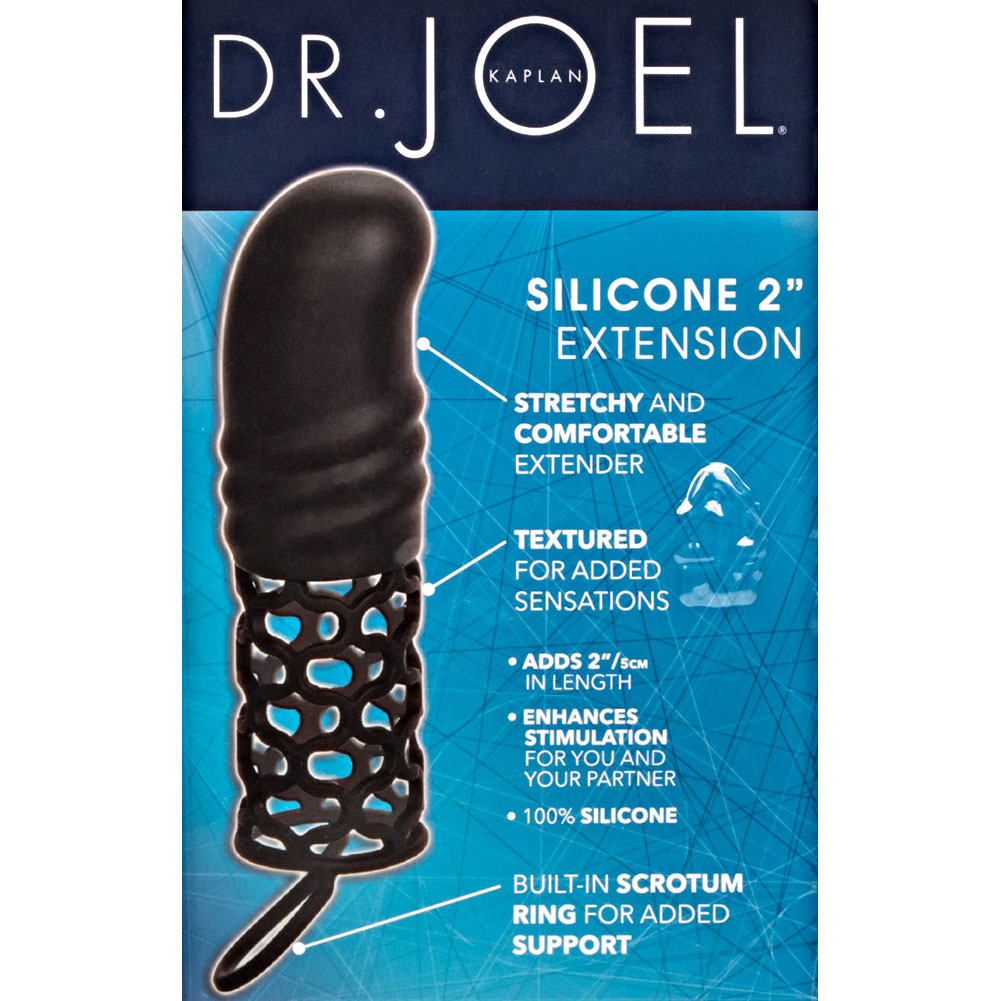 """Dr Joel Kaplan 2"""" Extra Length Penis Extension with Scrotum Ring 5.75"""" Black - View #1"""