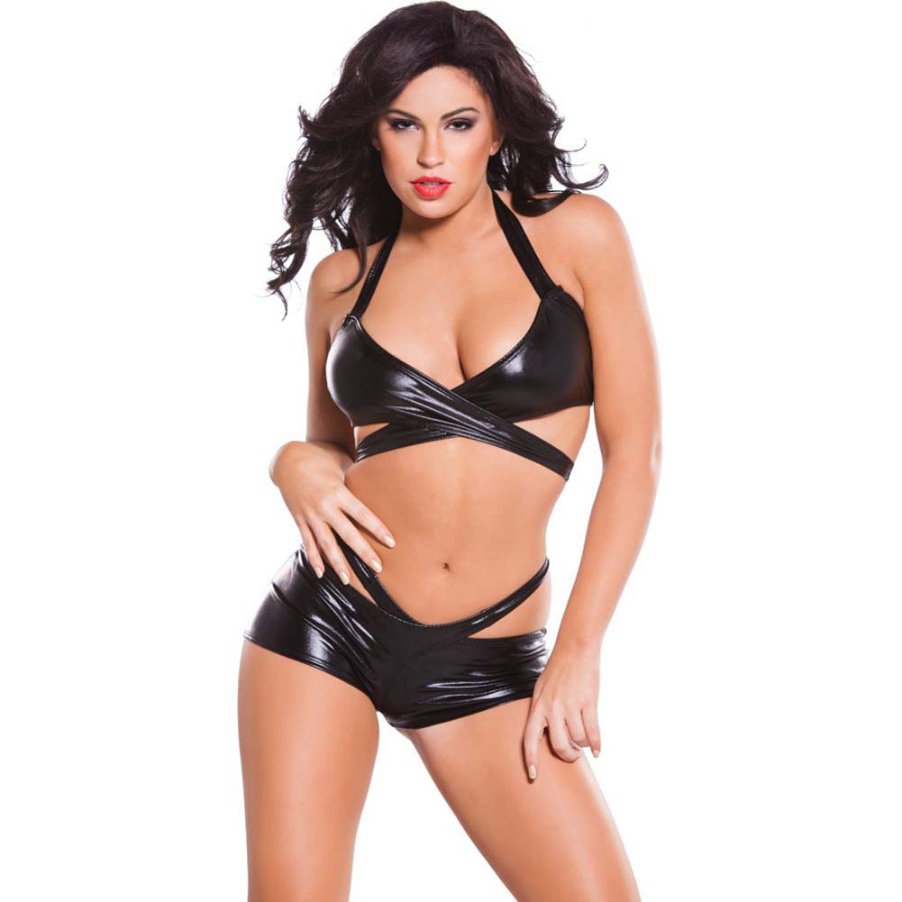 Allure Lingerie Kitten Wet Look Wrap Top and Shorts Set One Size Black - View #1
