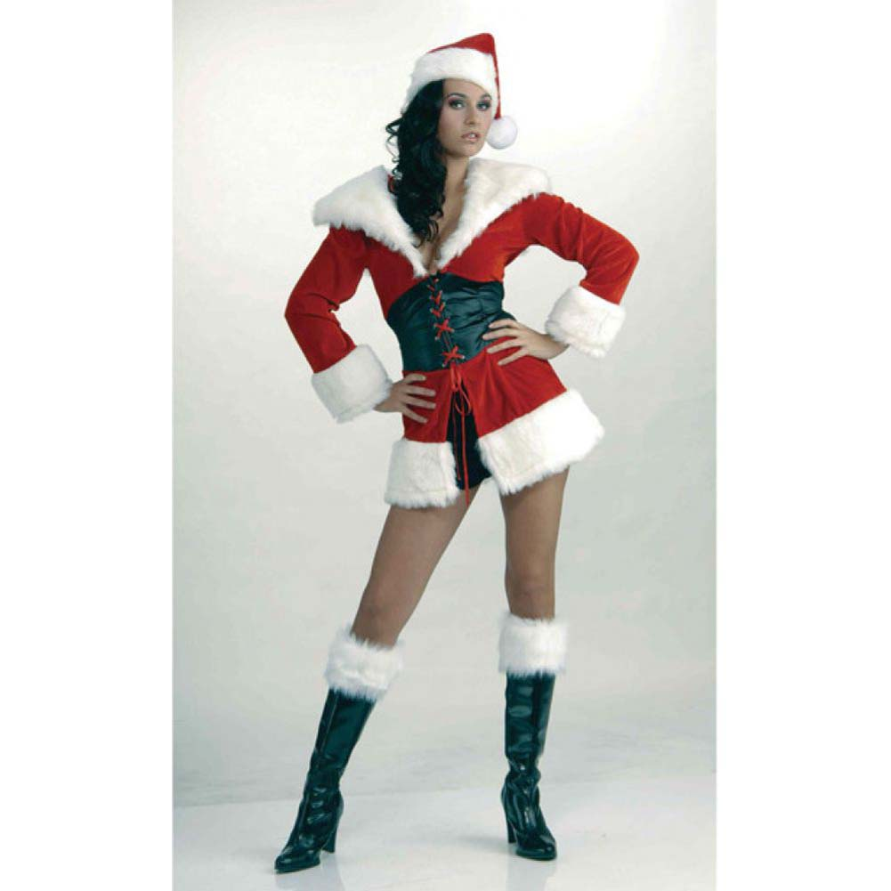 Forum Novelties Short and Sweet Sexy Santa Fur Trimmed Costume Extra Small/Small Red - View #2