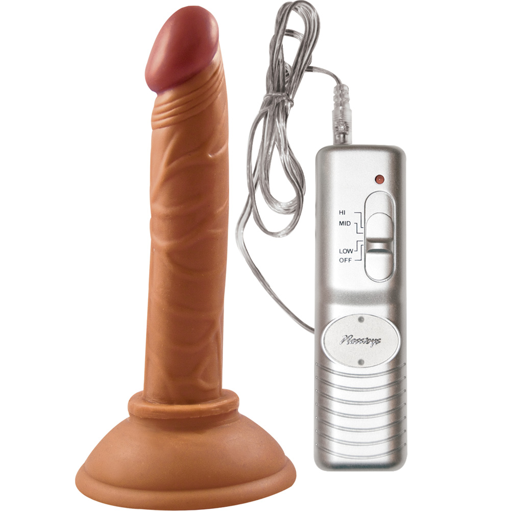 "Real Skin Latin American Mini Whopper Vibrating Straight Dong 4"" Brown - View #2"