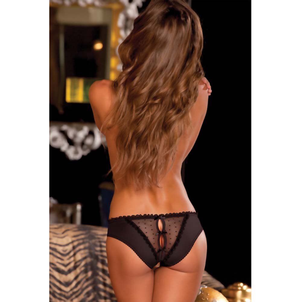 Rene Rofe Crotchless Frills Panty with Back Bows Medium/Large Classic Black - View #4