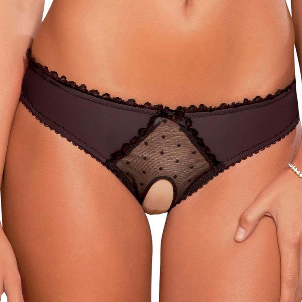 Rene Rofe Crotchless Frills Panty with Back Bows Small/Medium Classic Black - View #1