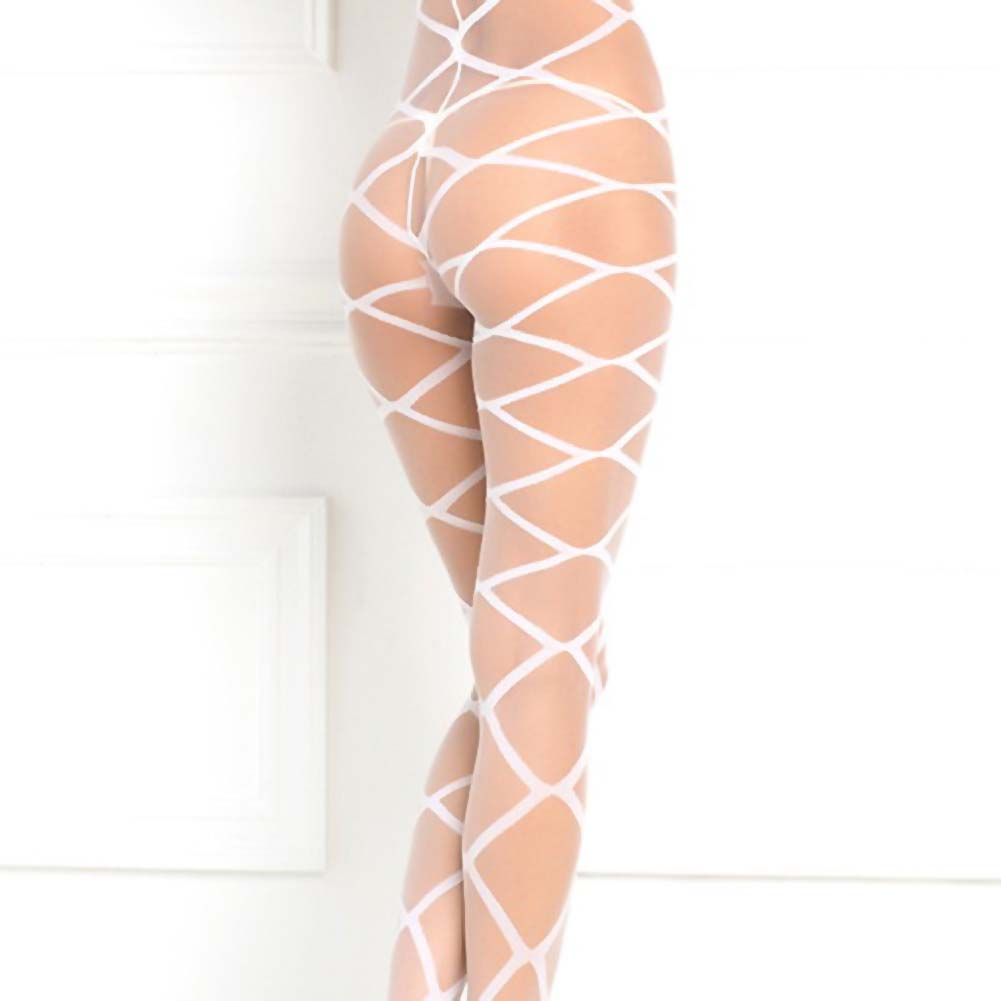 Rene Rofe Strapped Up Sexy Sheer Bodystocking One Size Classic White - View #4
