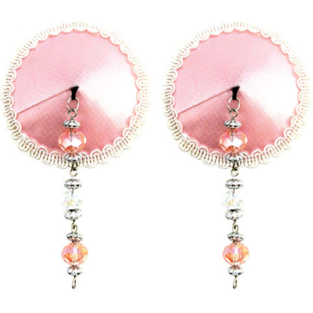PHS International Round Sequin Nipple Covers with Faceted Beads Pink - View #1