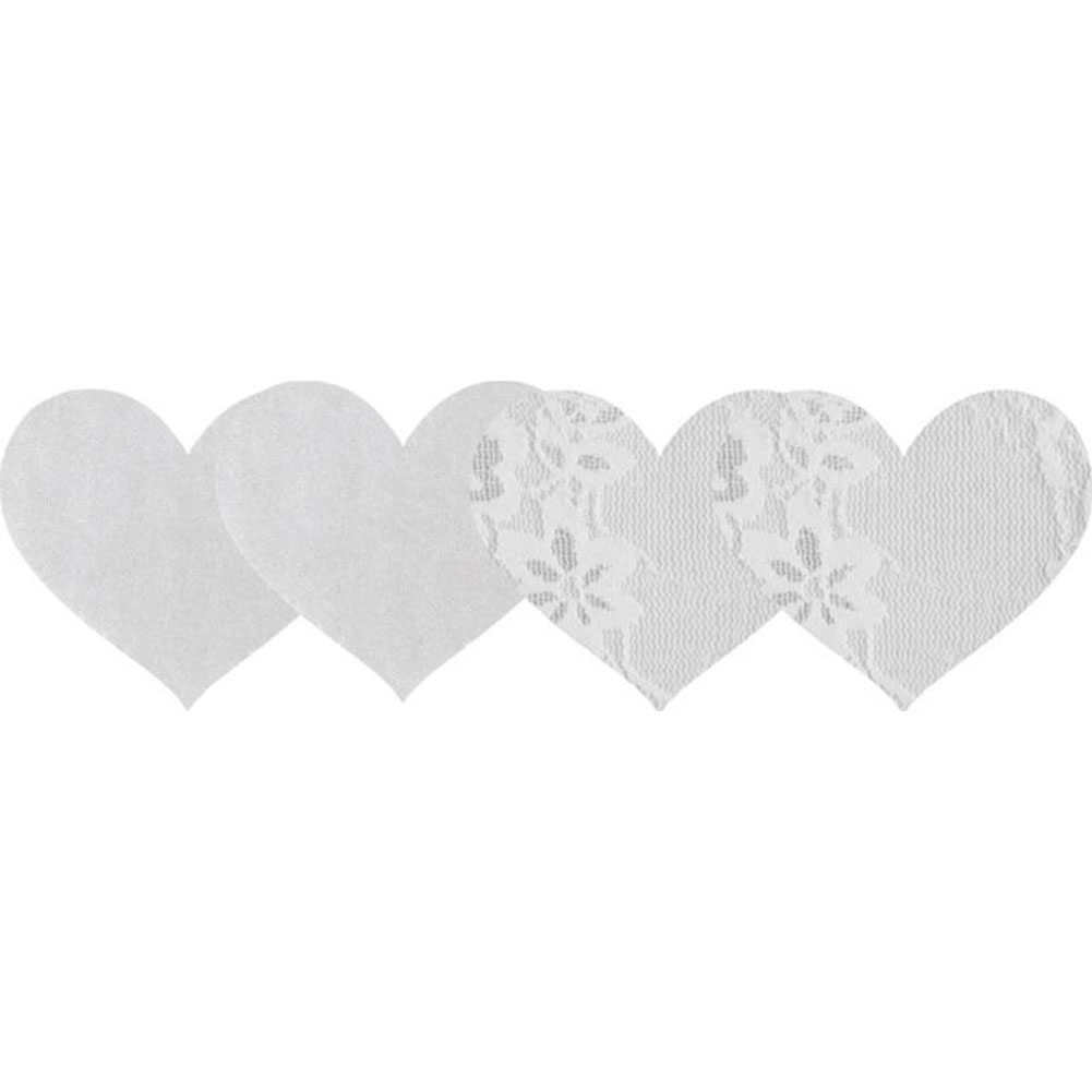 Peekaboos Premium Heart Shaped Nipple Pasties 2 Pair Pack White Lace - View #1