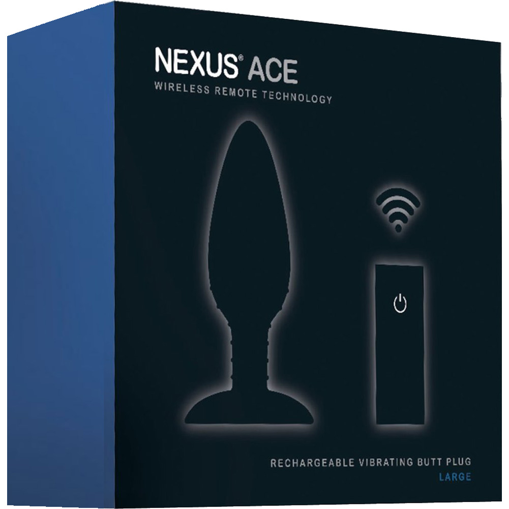 """Nexus Ace Wireless Remote USB Rechargeable Large Butt Plug 7"""" Black - View #3"""
