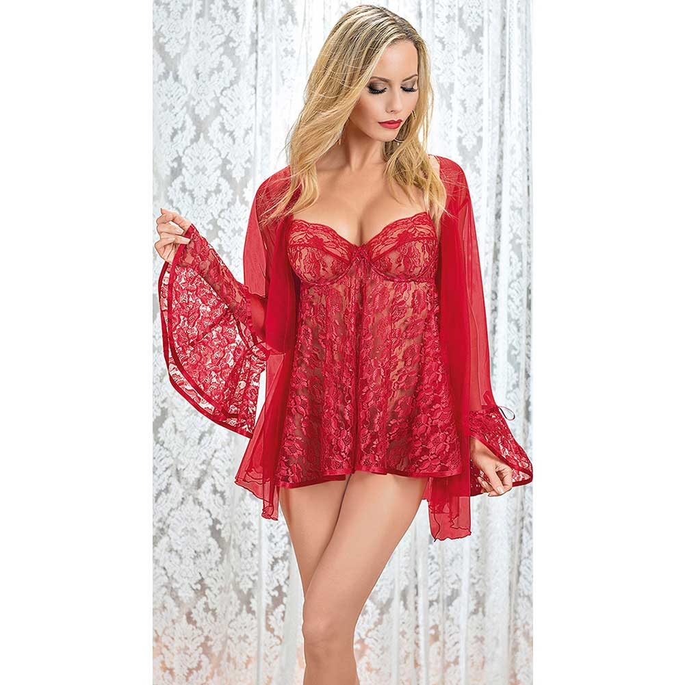 Escante Sheer Lace Babydoll with Matching Lace Coat Large Red - View #2