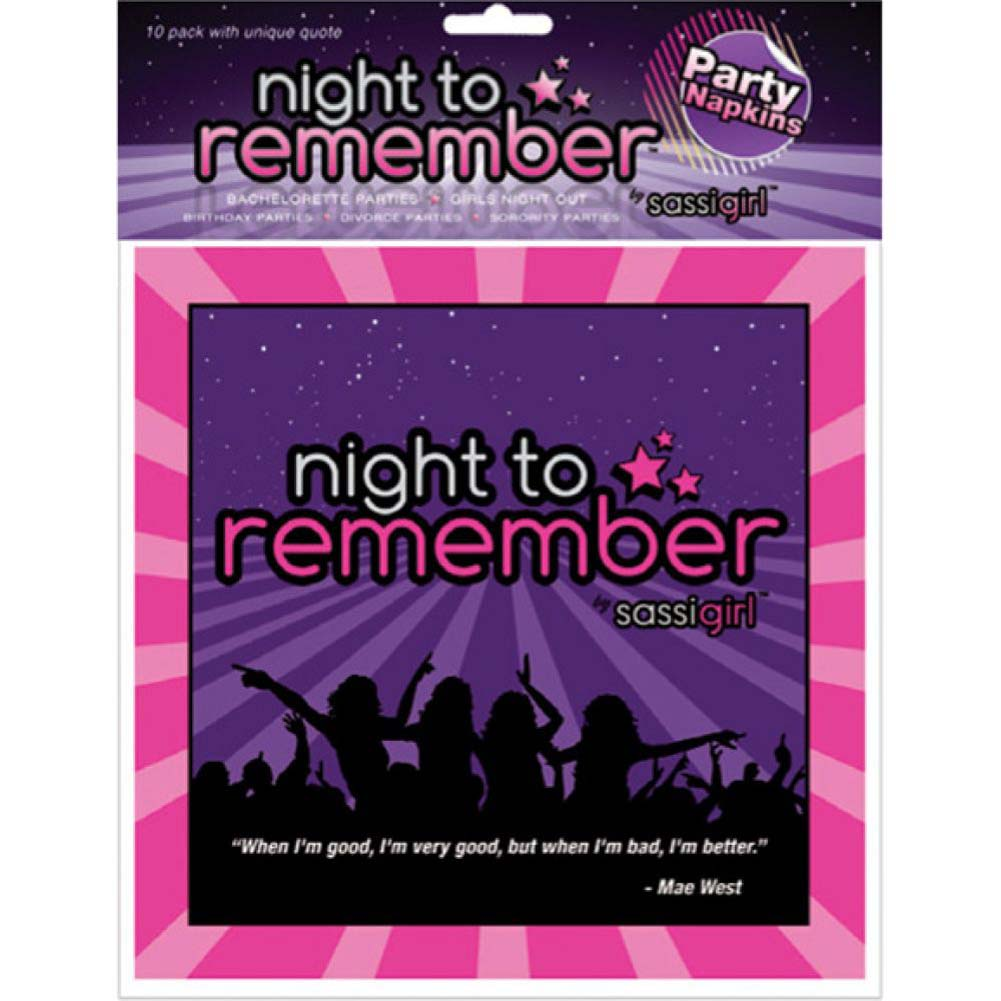 """Sassigirl Night to Remember Standard 6.5"""" Napkins Pack of 10 - View #1"""