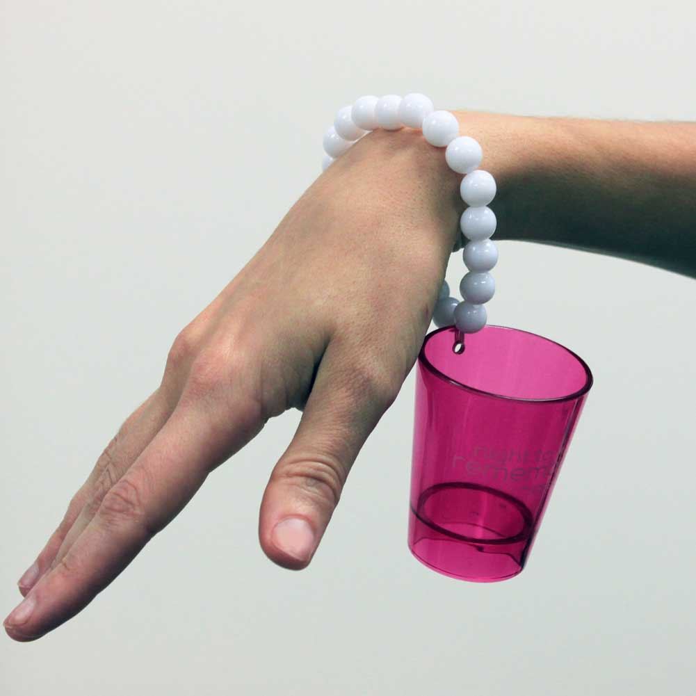 Erotic Toy Sassigirl Night to Remember Shot Glass and Bracelet Hot Pink/ White - View #1