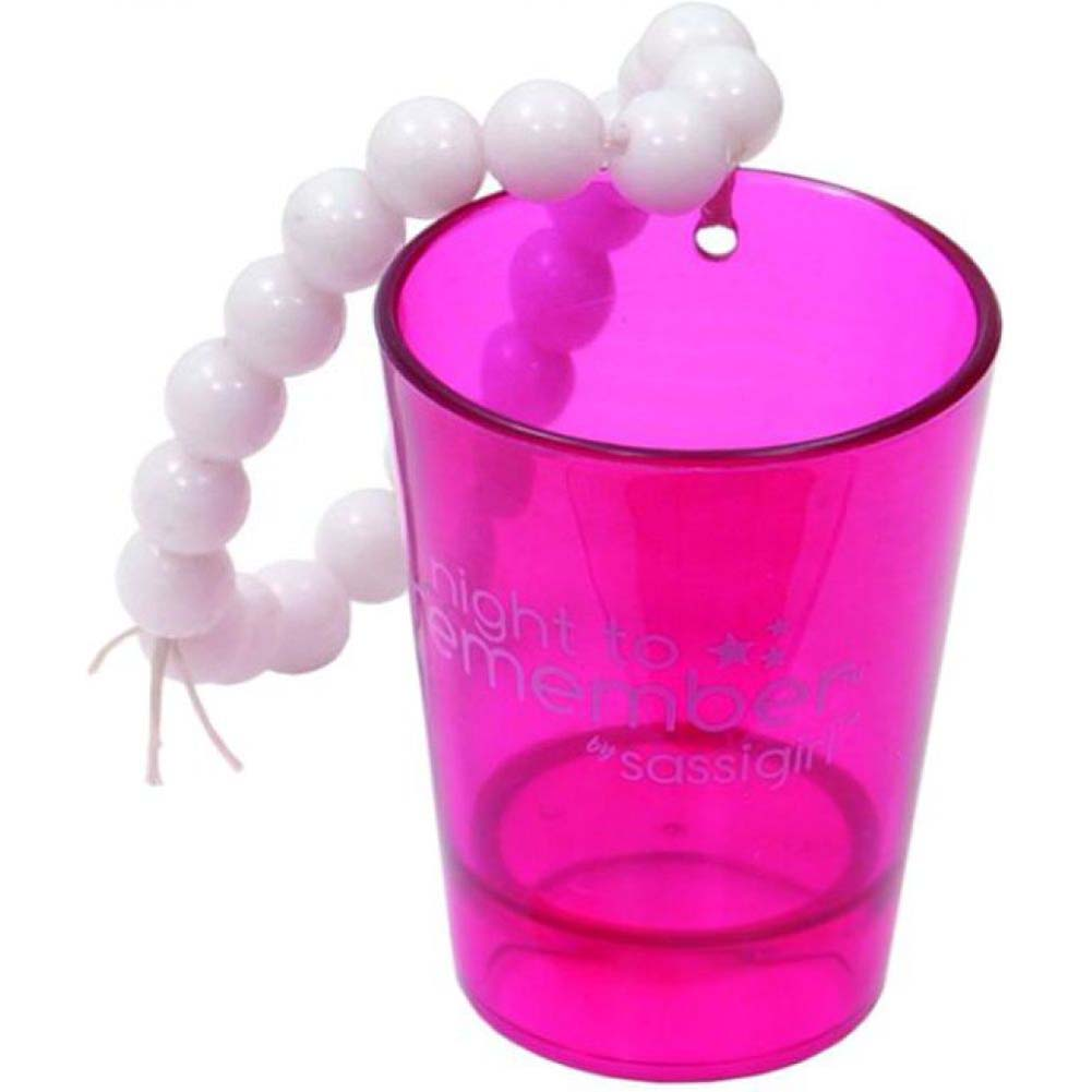 Erotic Toy Sassigirl Night to Remember Shot Glass and Bracelet Hot Pink/ White - View #2
