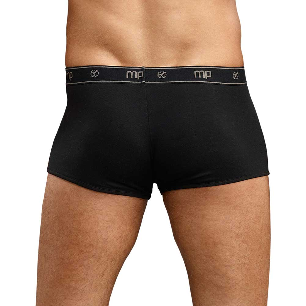 Male Power Bamboo Low Rise Pouch Enhancer Short Black Small - View #2