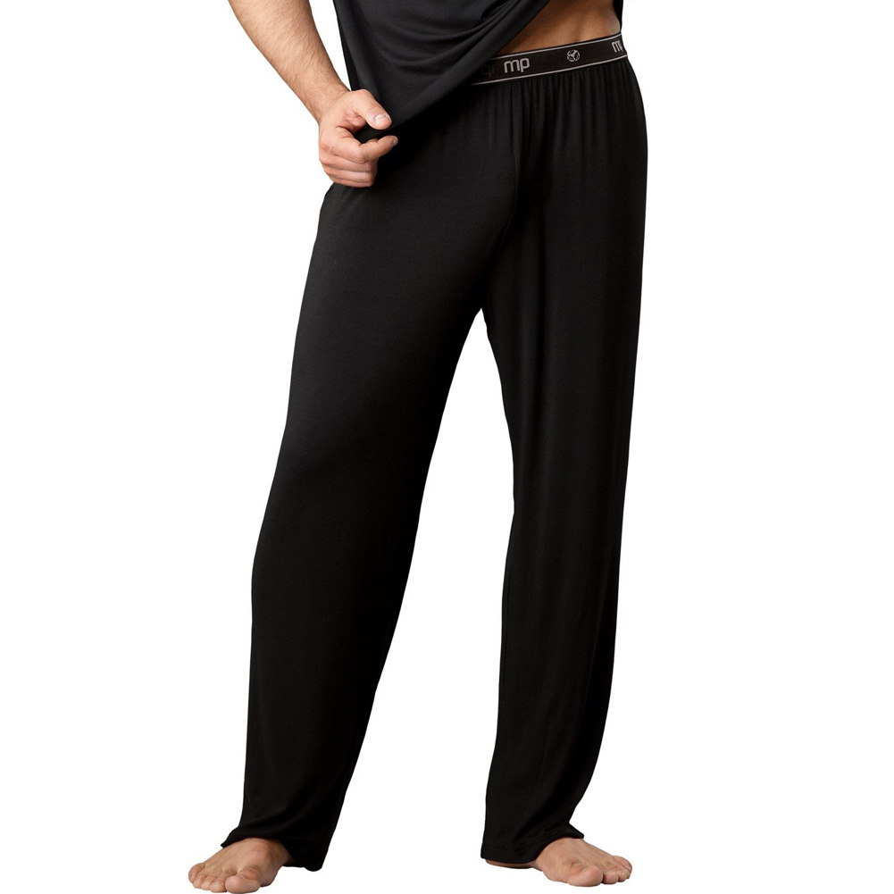Male Power Bamboo Lounge Pants Large Black - View #1