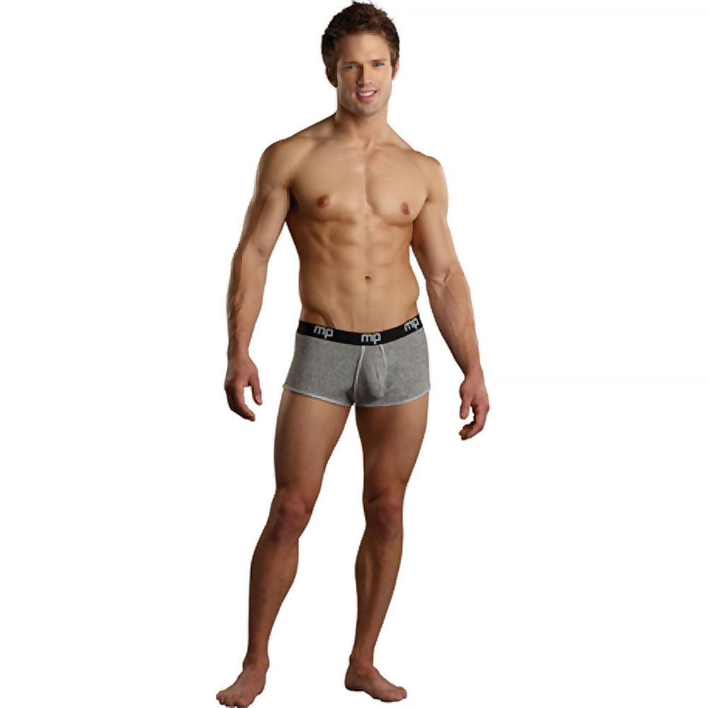 Male Powers Heather Stripe Lo Rise Pouch Enhancer Shorts Large Grey - View #3