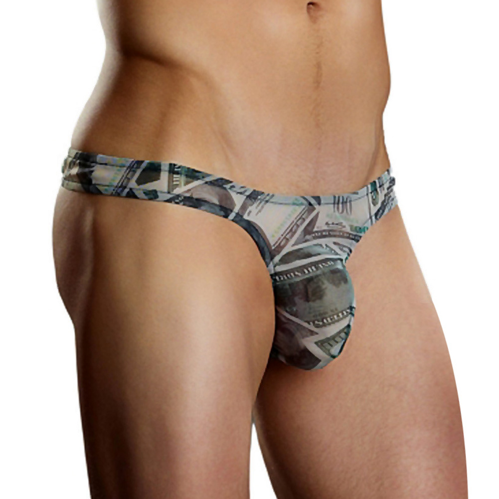 Male Power Benjamin Hundred Dollar Bill Bong Thong Large/Extra Large Print - View #1