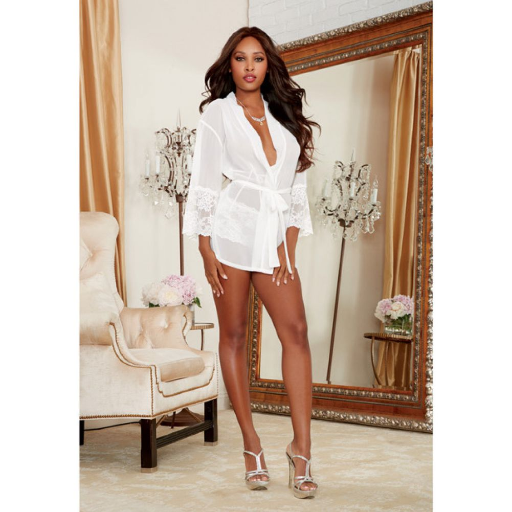 Dreamgirl Chiffon Stretch Lace Short Length Kimono Robe and Cheeky Panty Small White - View #4