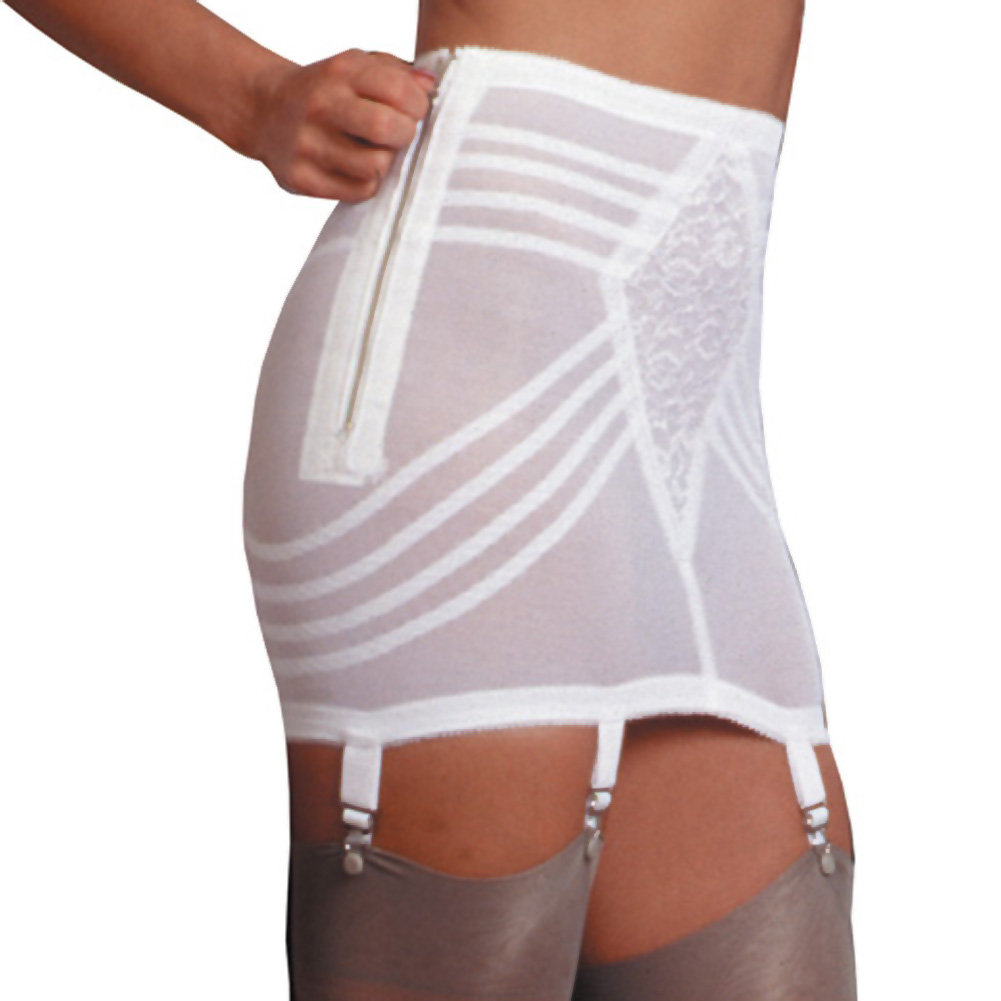 Rago Shapewear Zippered Open Bottom Girdle 3X White - View #1