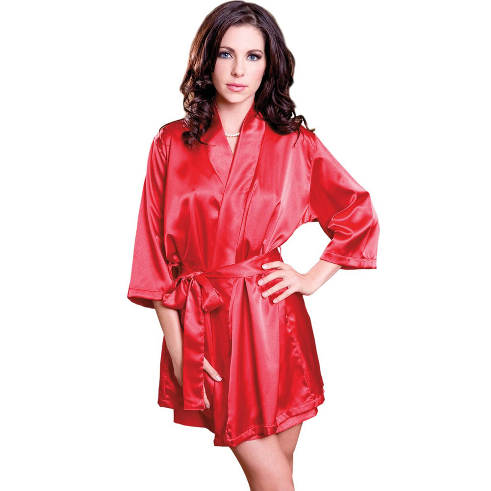 iCollection Soft Satin Robe with Sash Small/Medium Cherry Poppin Red - View #1