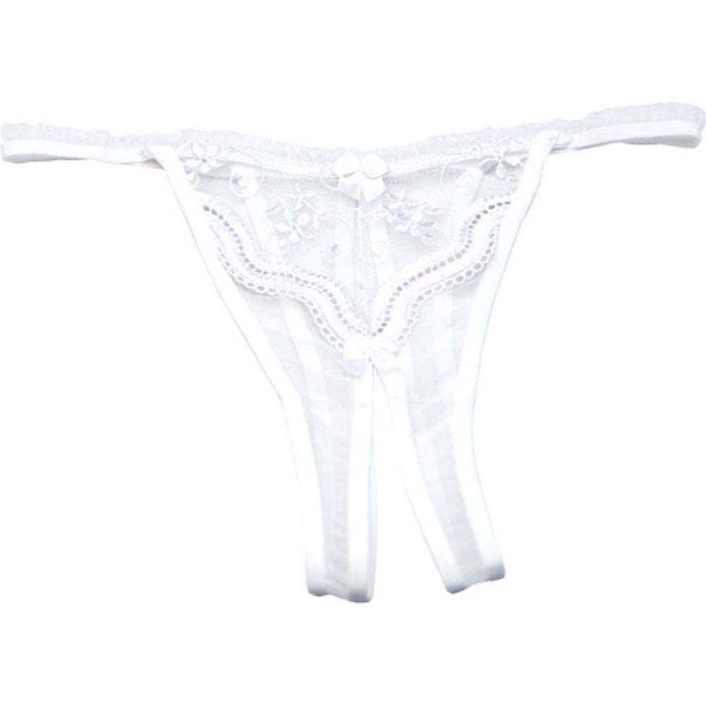 Shirley of Hollywood Scalloped Embroidery Crotchless Panty 1X/2X White - View #2