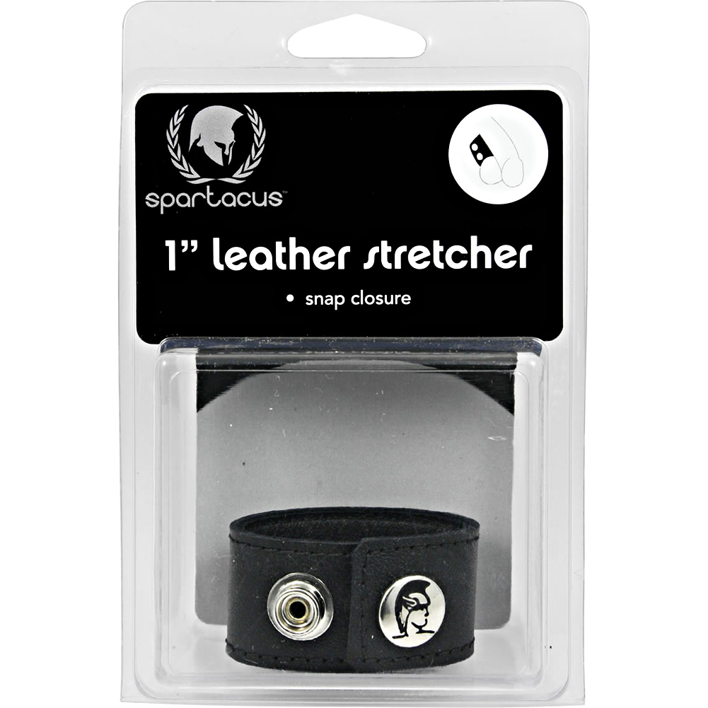 """Spartacus Leather Ball Stretcher with Snaps 1"""" Black - View #4"""