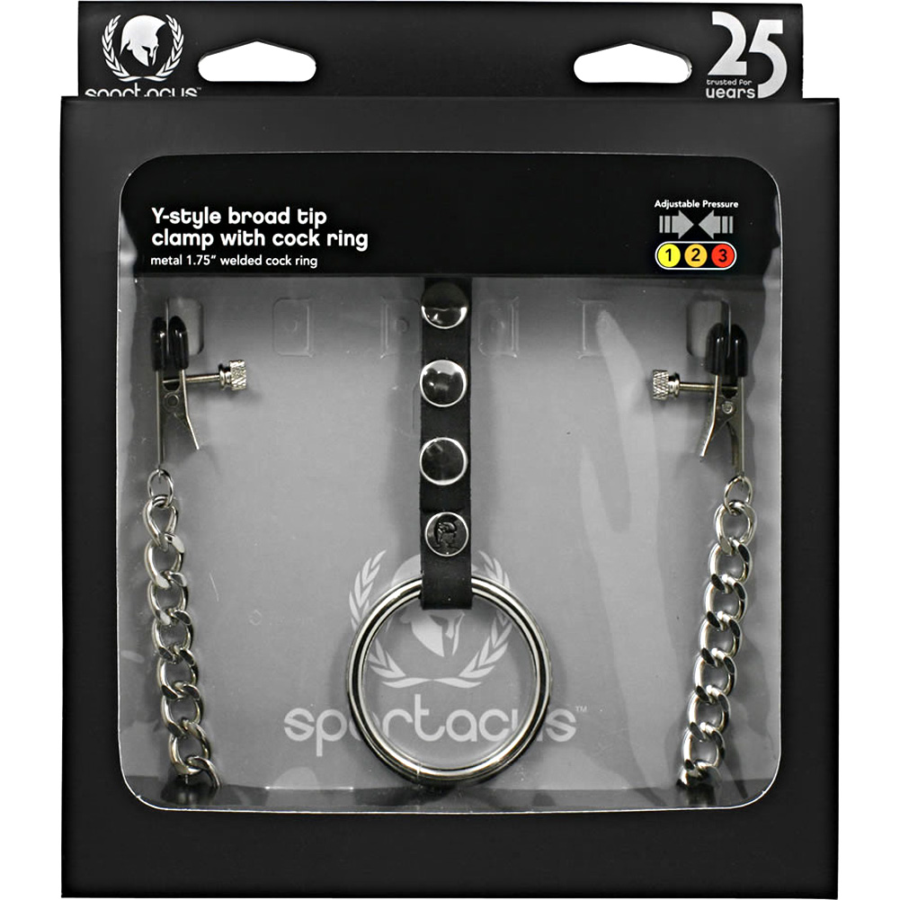 Spartacus Leather Y Style Nipple Clamps with Attached Cock Ring Silver -  View #1