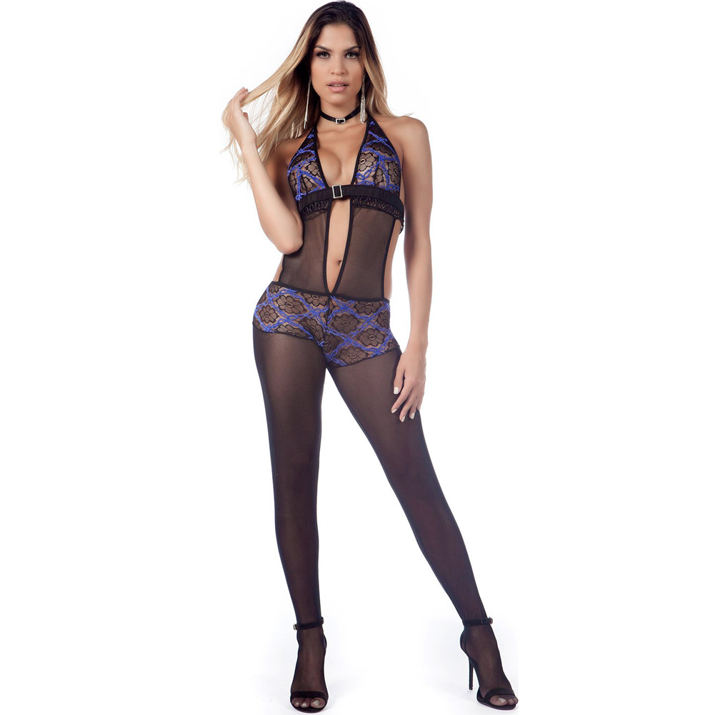 G World Lingerie Lace and Mesh Bodystocking One Size Orchid - View #1