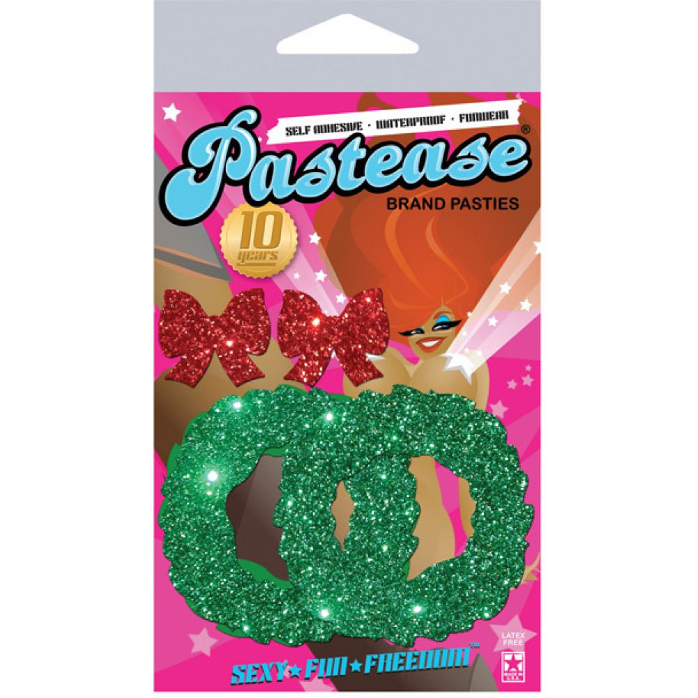 Pastease Glitter Wreath with Red Bow Nipple Covers One Size - View #1