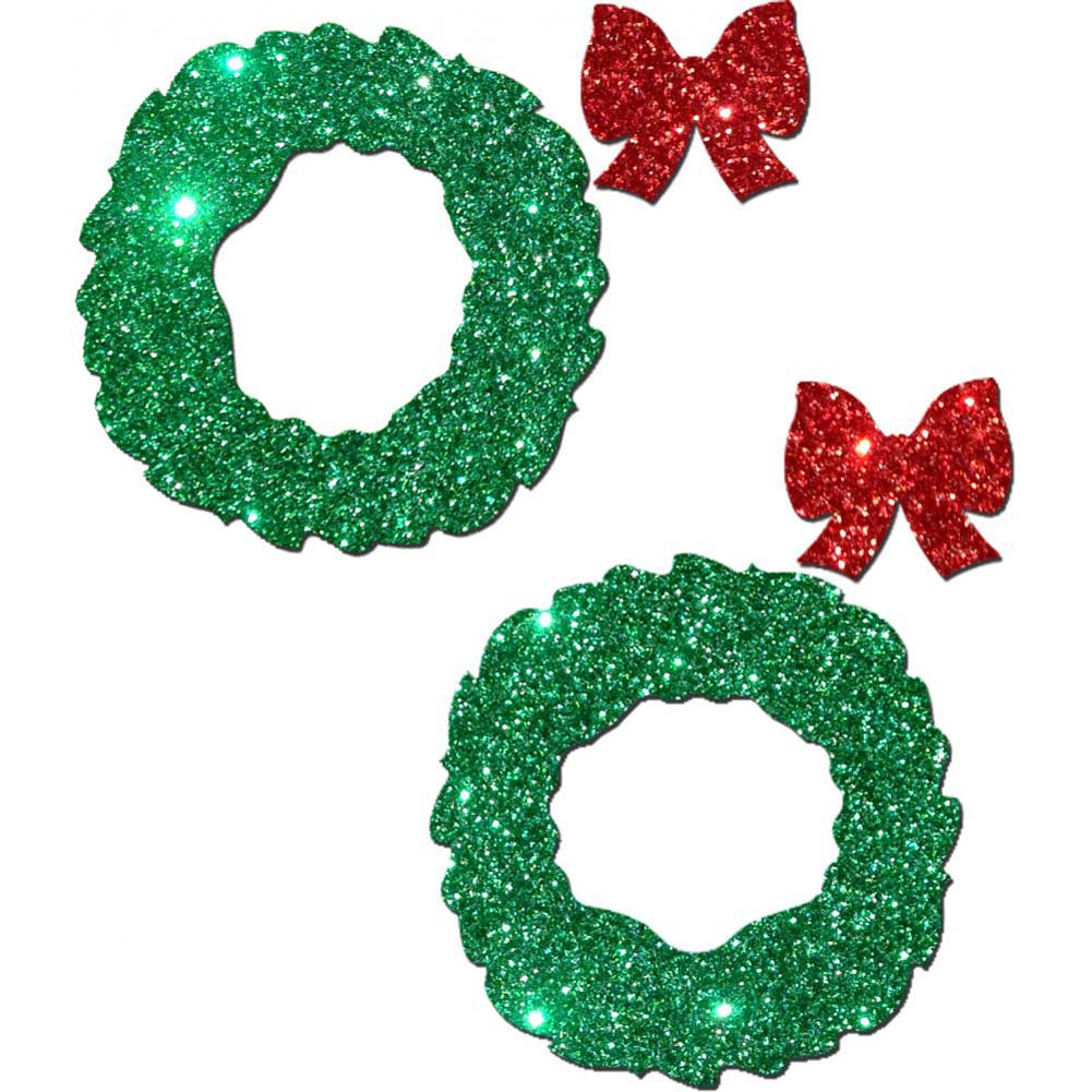 Pastease Glitter Wreath with Red Bow Nipple Covers One Size - View #2