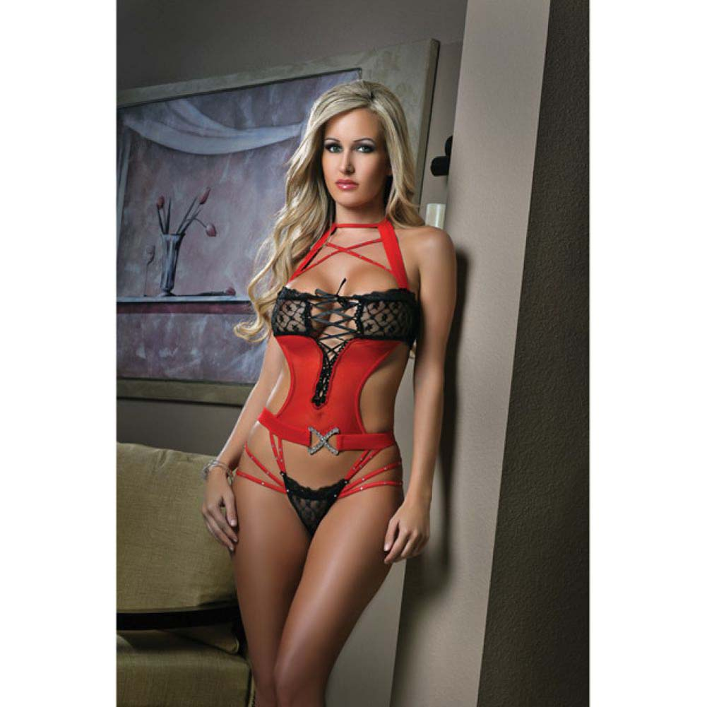 G World Cut-Out Teddy with Bedazzled Straps and Contrasting Lace One Size Red and Black - View #1